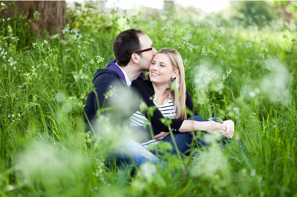 Engagement photos on Merrow Downs near Guildford in Surrey