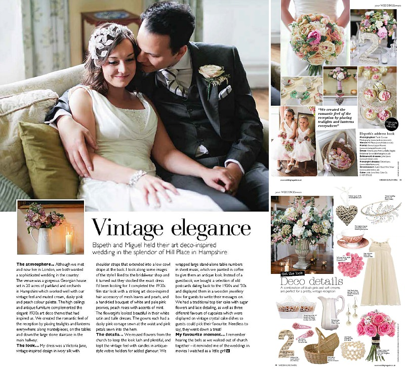 Wedding at Hill Place Hampshire in Wedding Flowers magazine