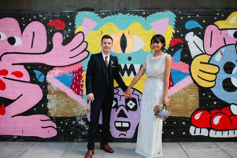 graffiti wedding photo