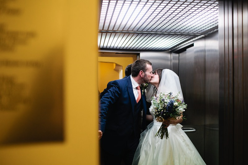love in an elevator wedding photo