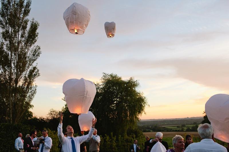 sunset wedding lanterns