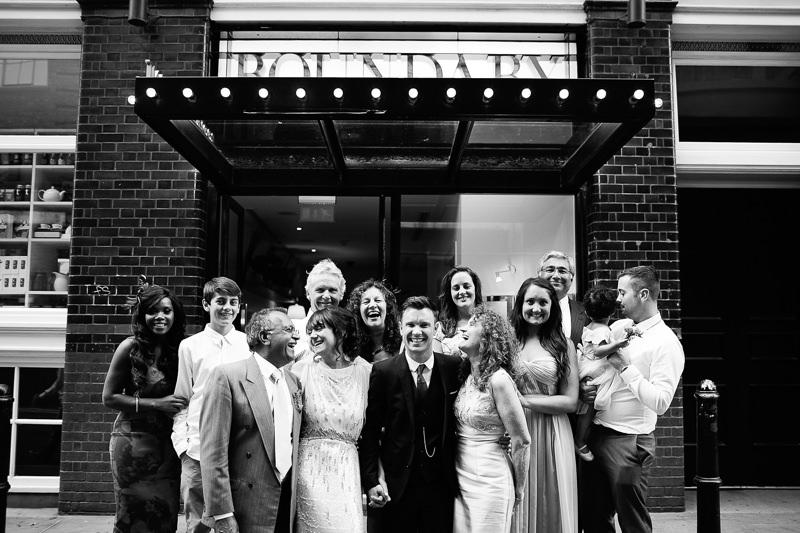 unposed reportage group wedding photo