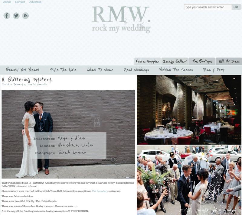 London wedding featured on Rock My Wedding blog