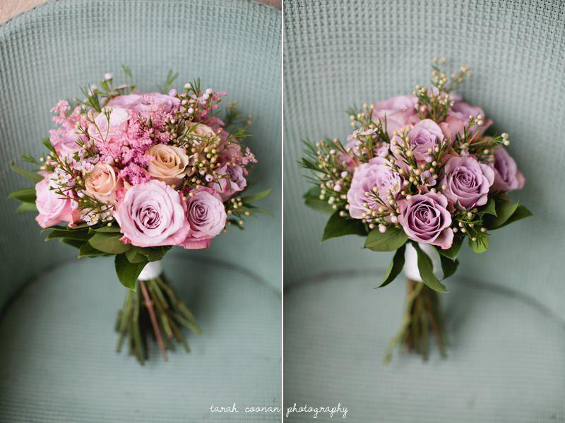 garden rose waxflower wedding bouquet