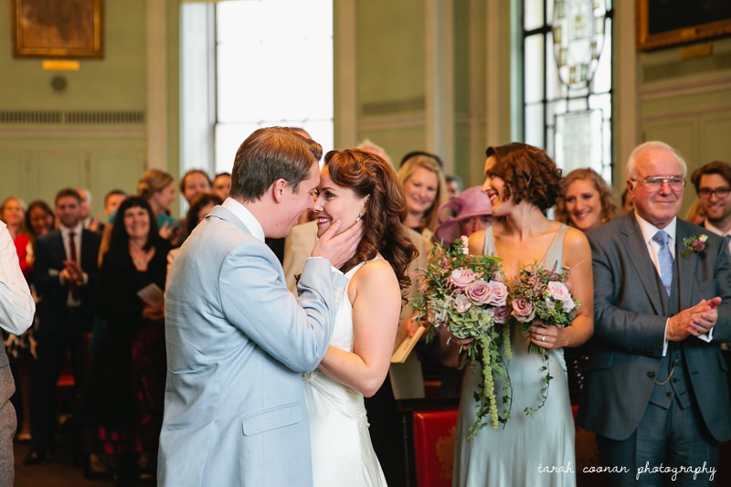 bride and groom loving kiss