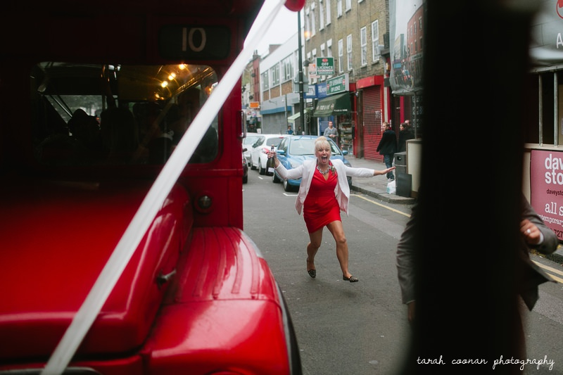 red dress red bus