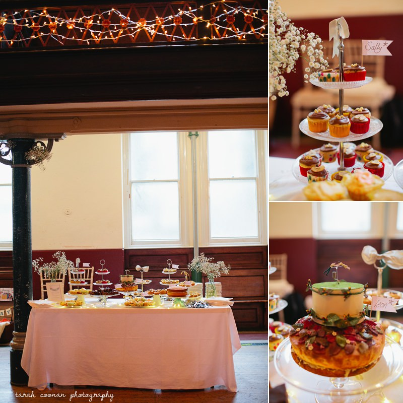 pot luck cake table wedding