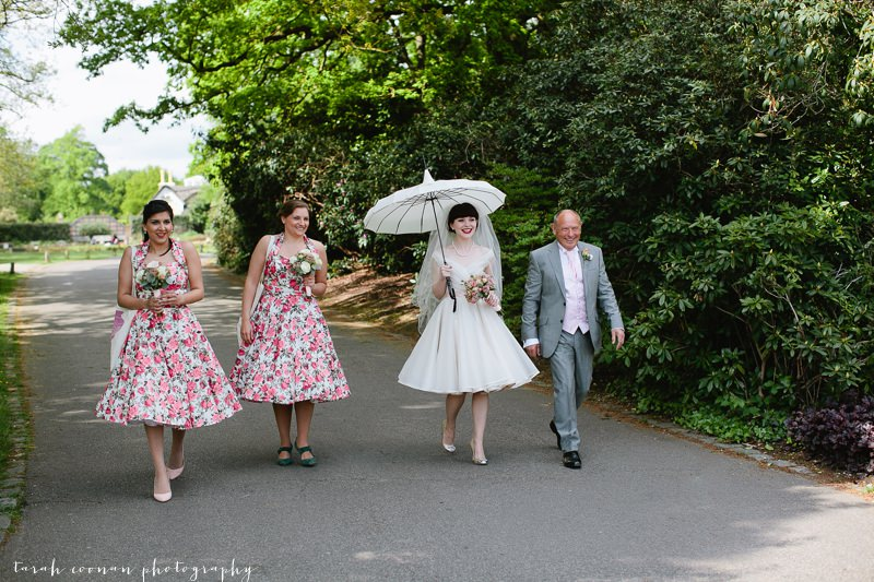 50s wedding dress parasol