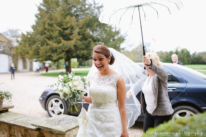 excited bride arriving