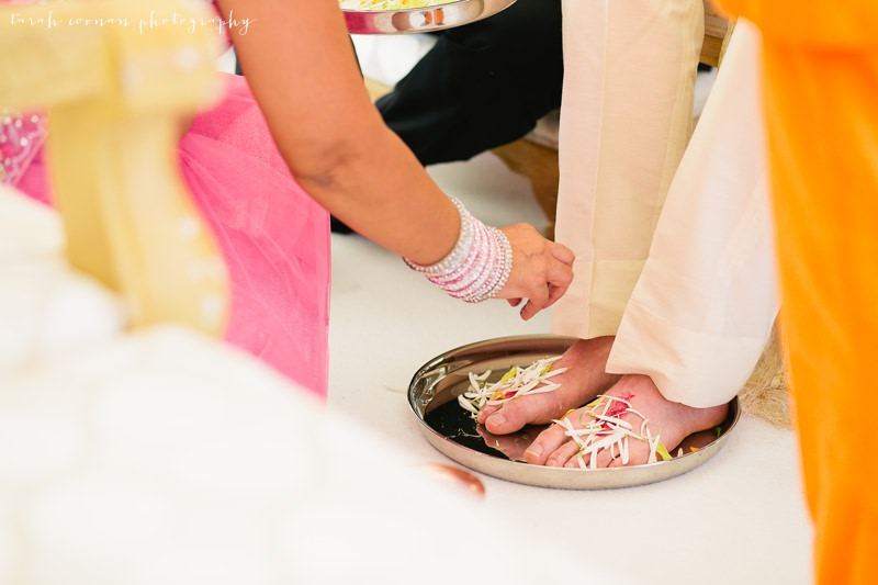indian wedding ceremony washing feet