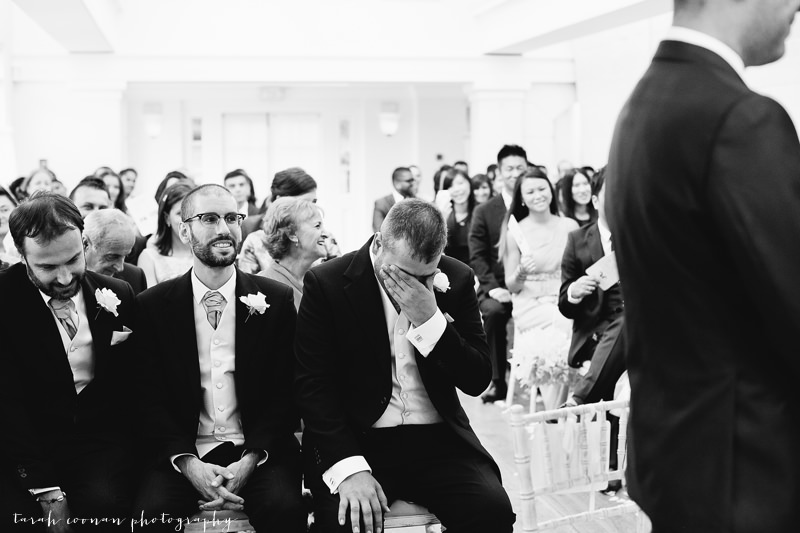 groomsmen crying