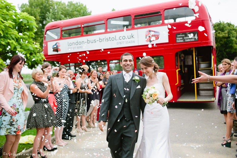 red bus wedding confetti