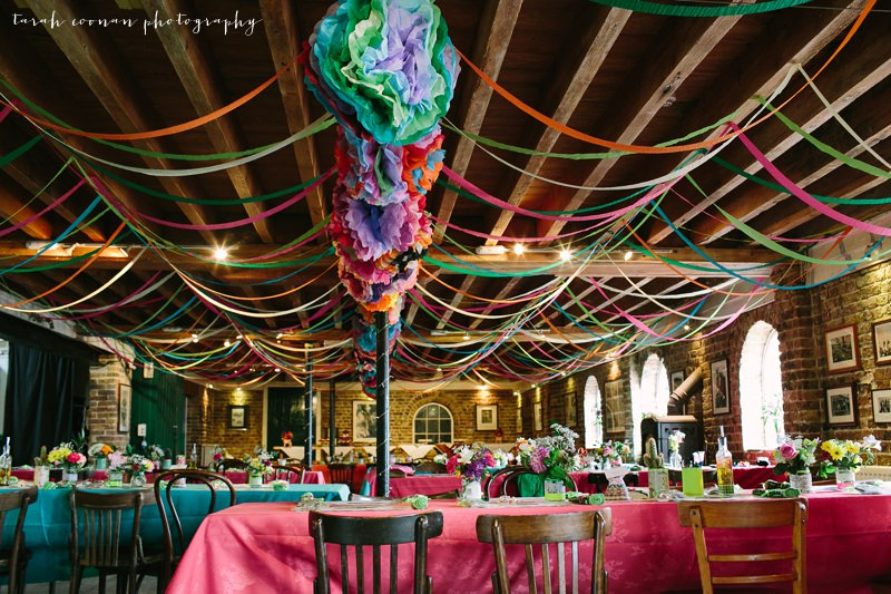 colourful pom pom beach wedding