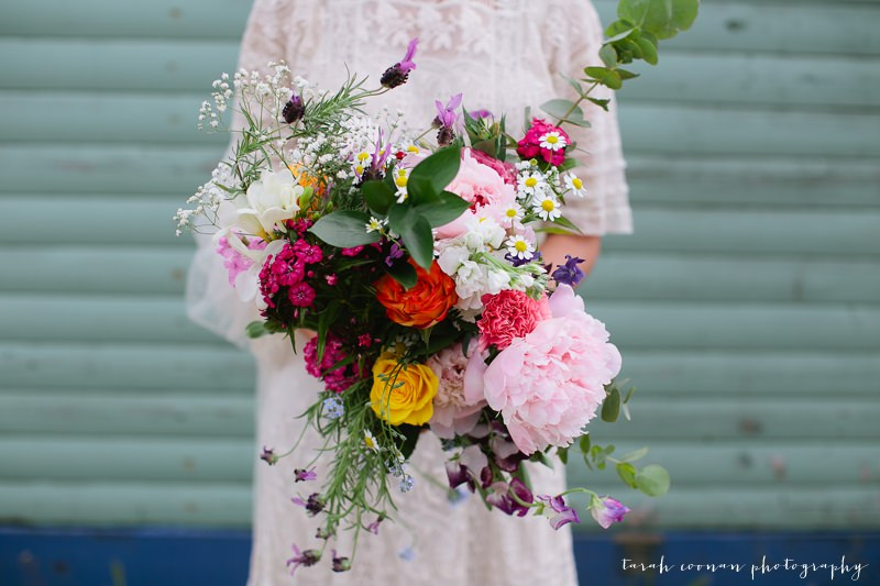 large colourful mexican wedding bouquet