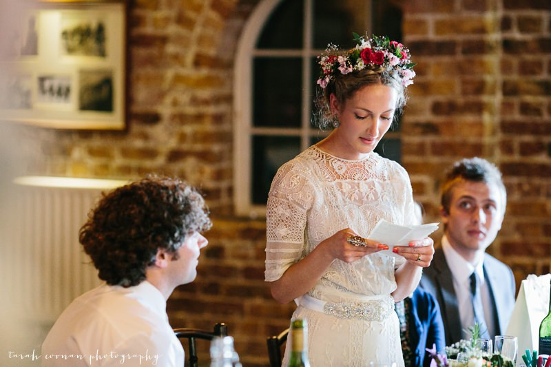 bride doing speech