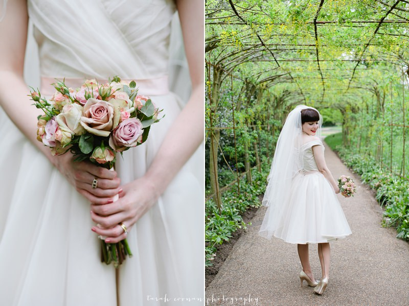 vintage wedding bouquet and dress