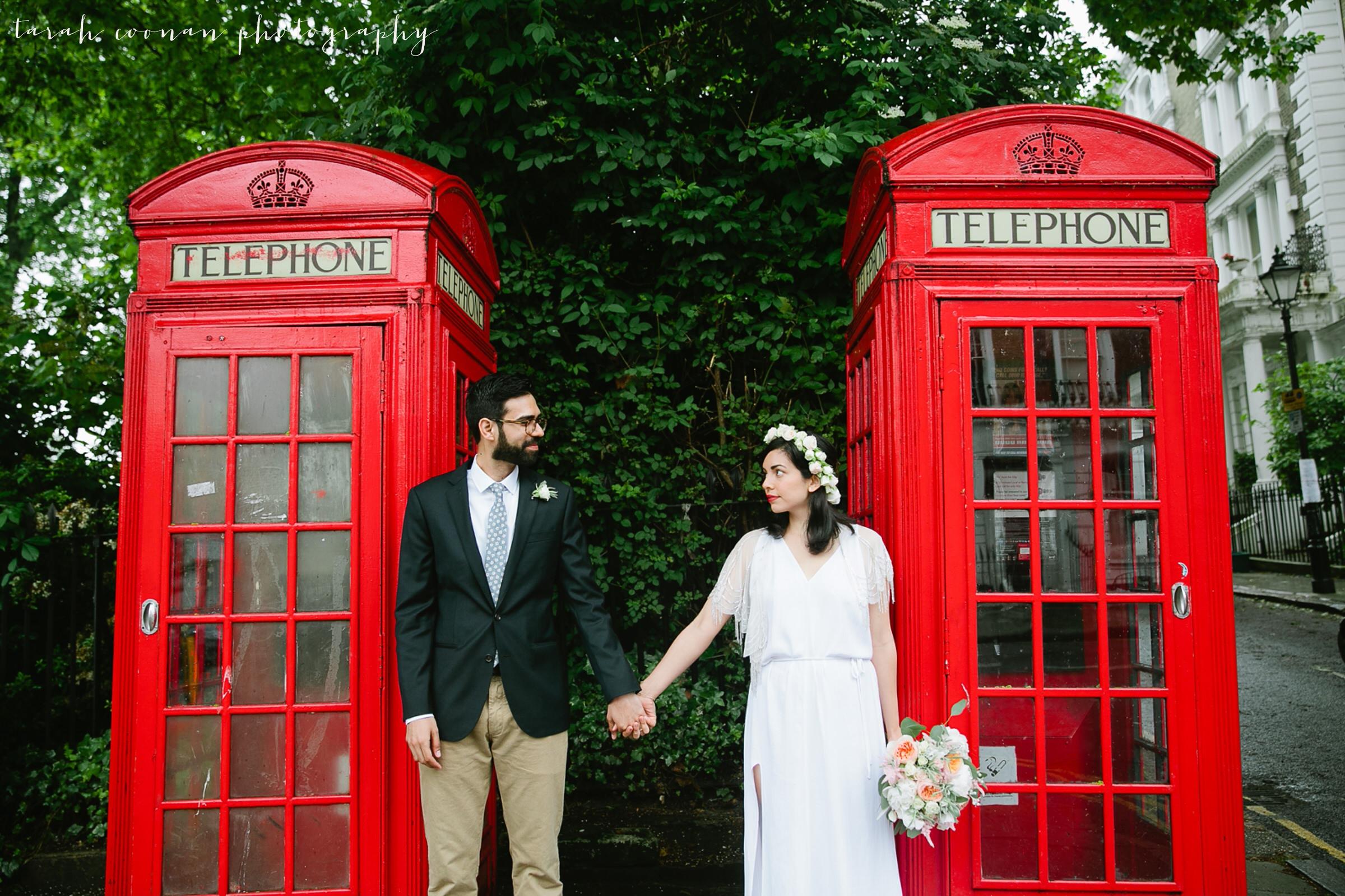 london red phone box wedding
