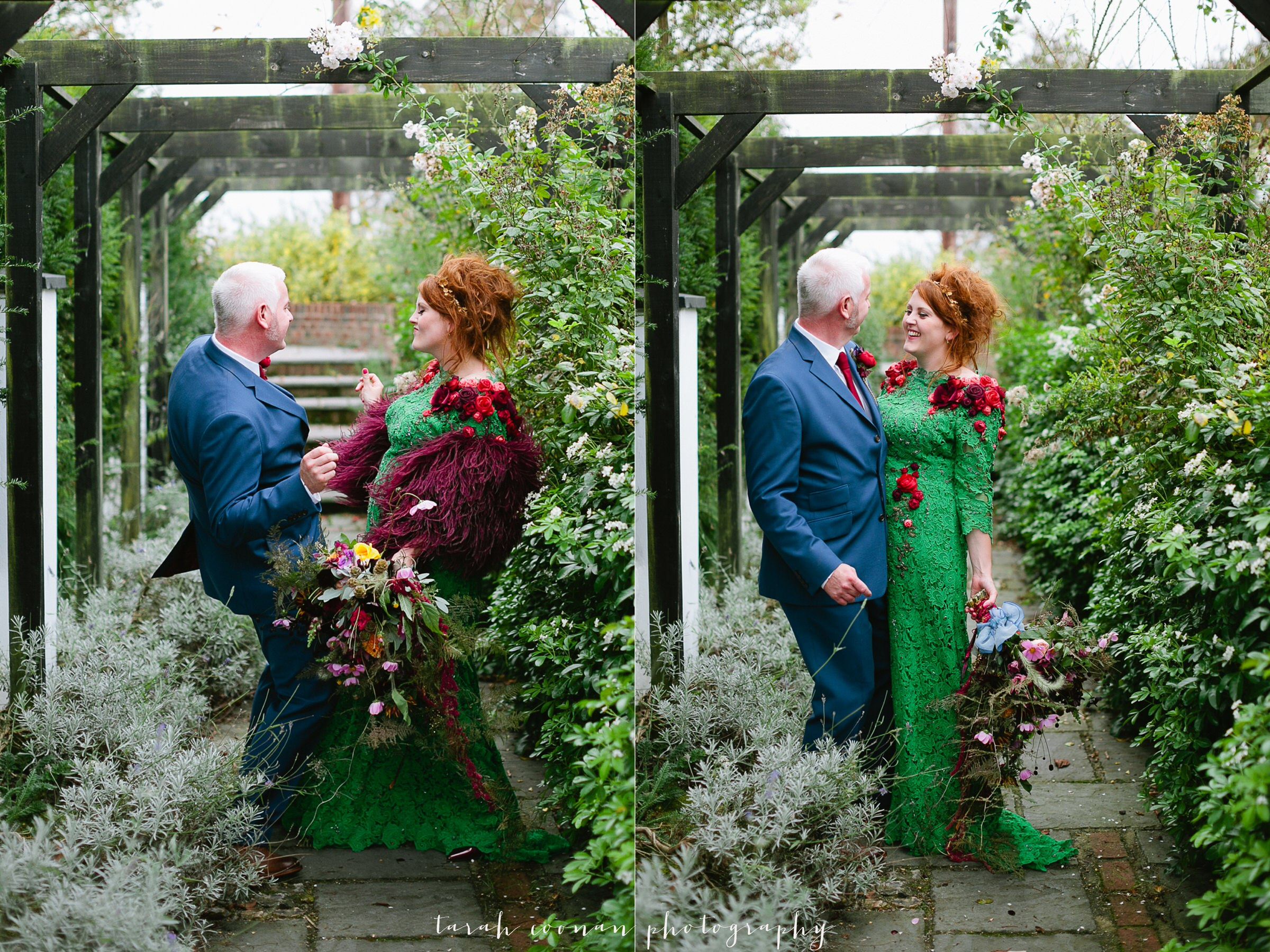 green dress red hair bride