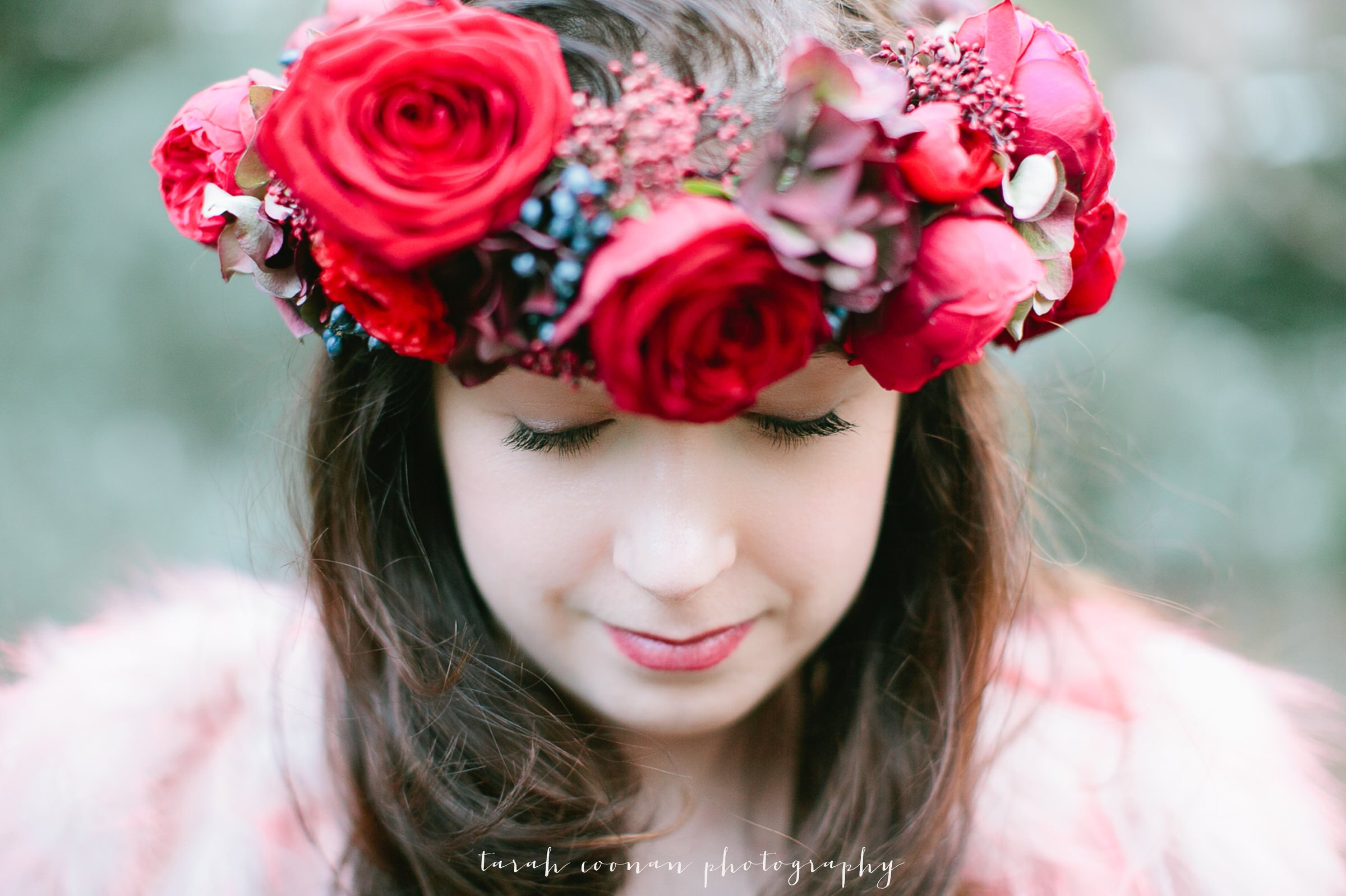 autumnal flower crown wedding