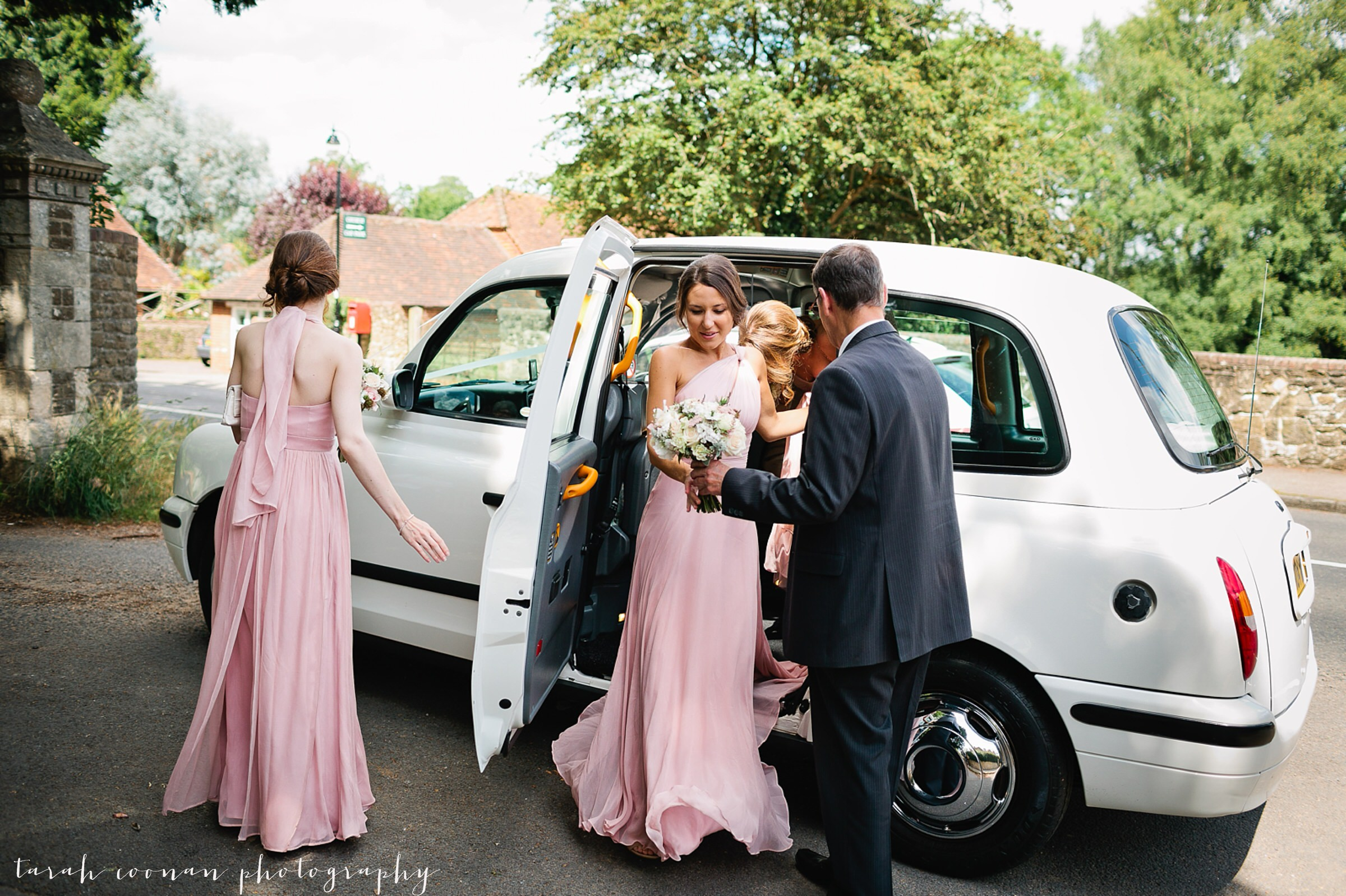 white taxi cab wedding