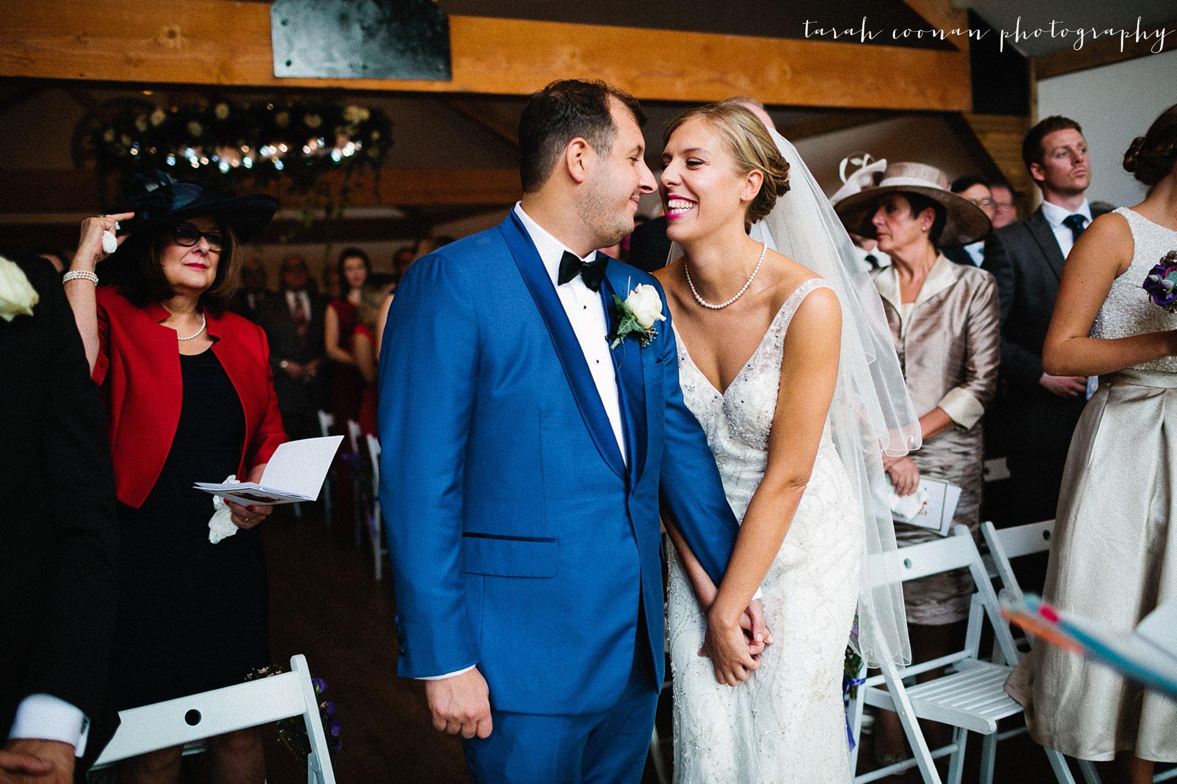 blue tux wedding