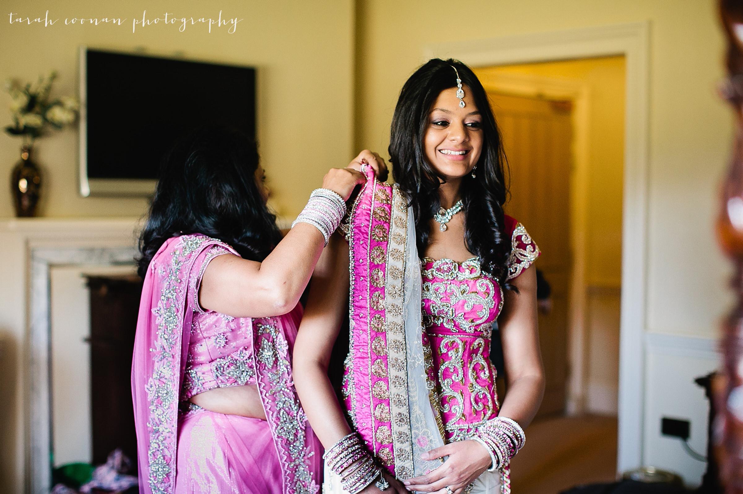 pink beaded indian wedding dress