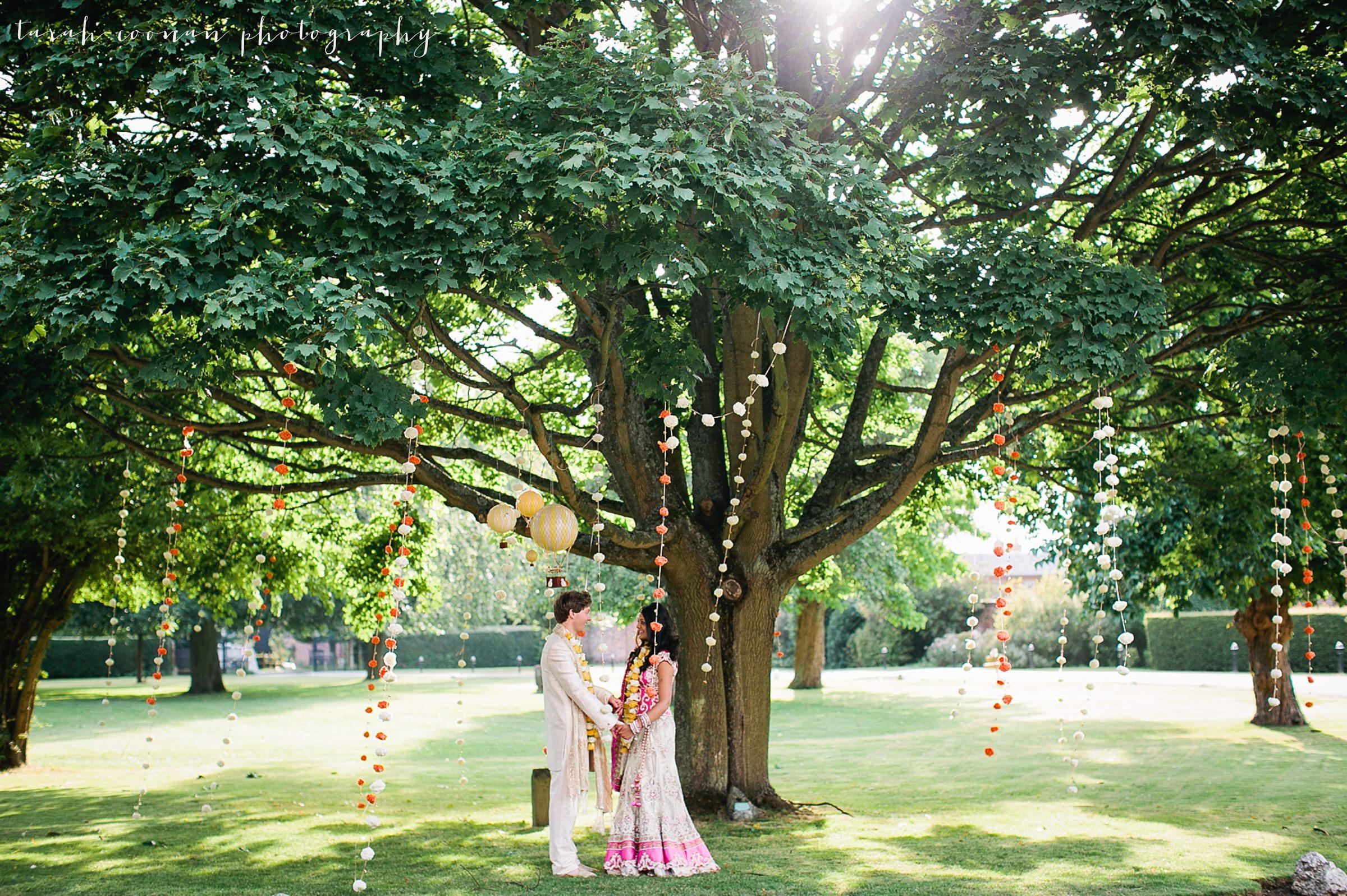 marigold garland tree asian wedding