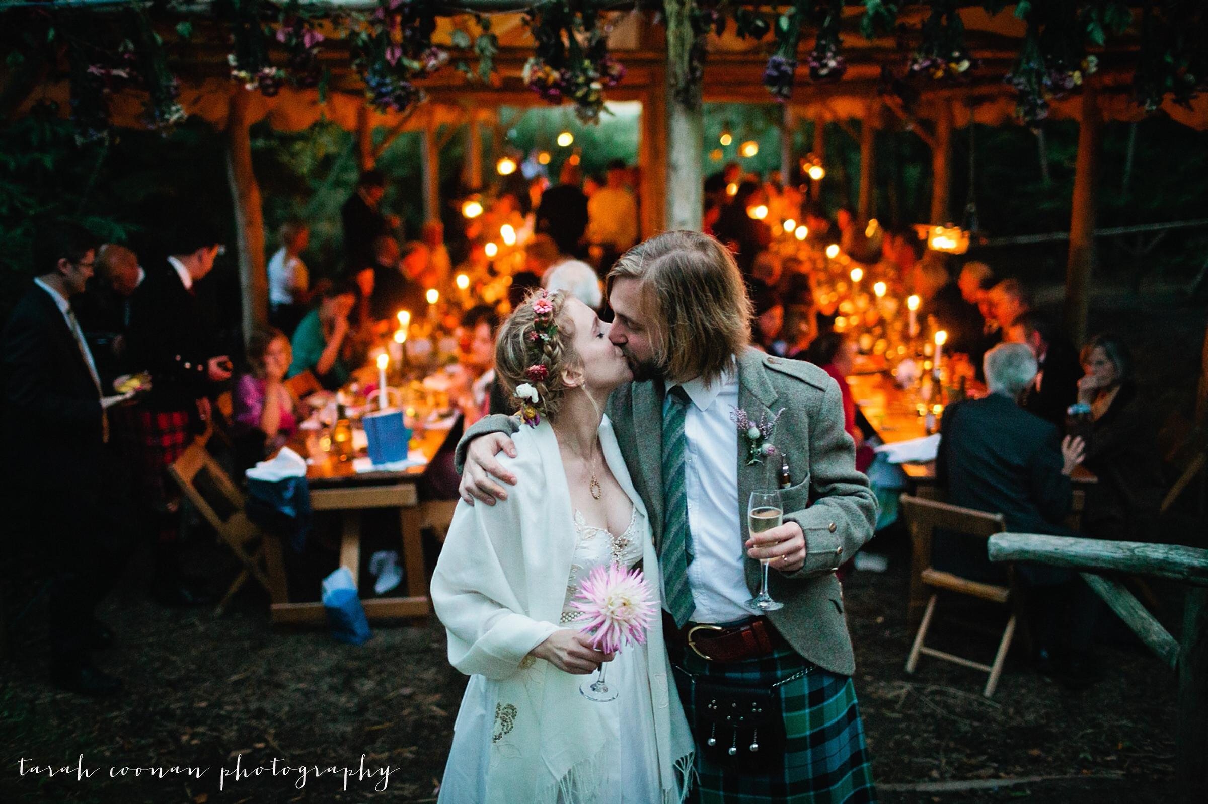 candlelit woodland wedding