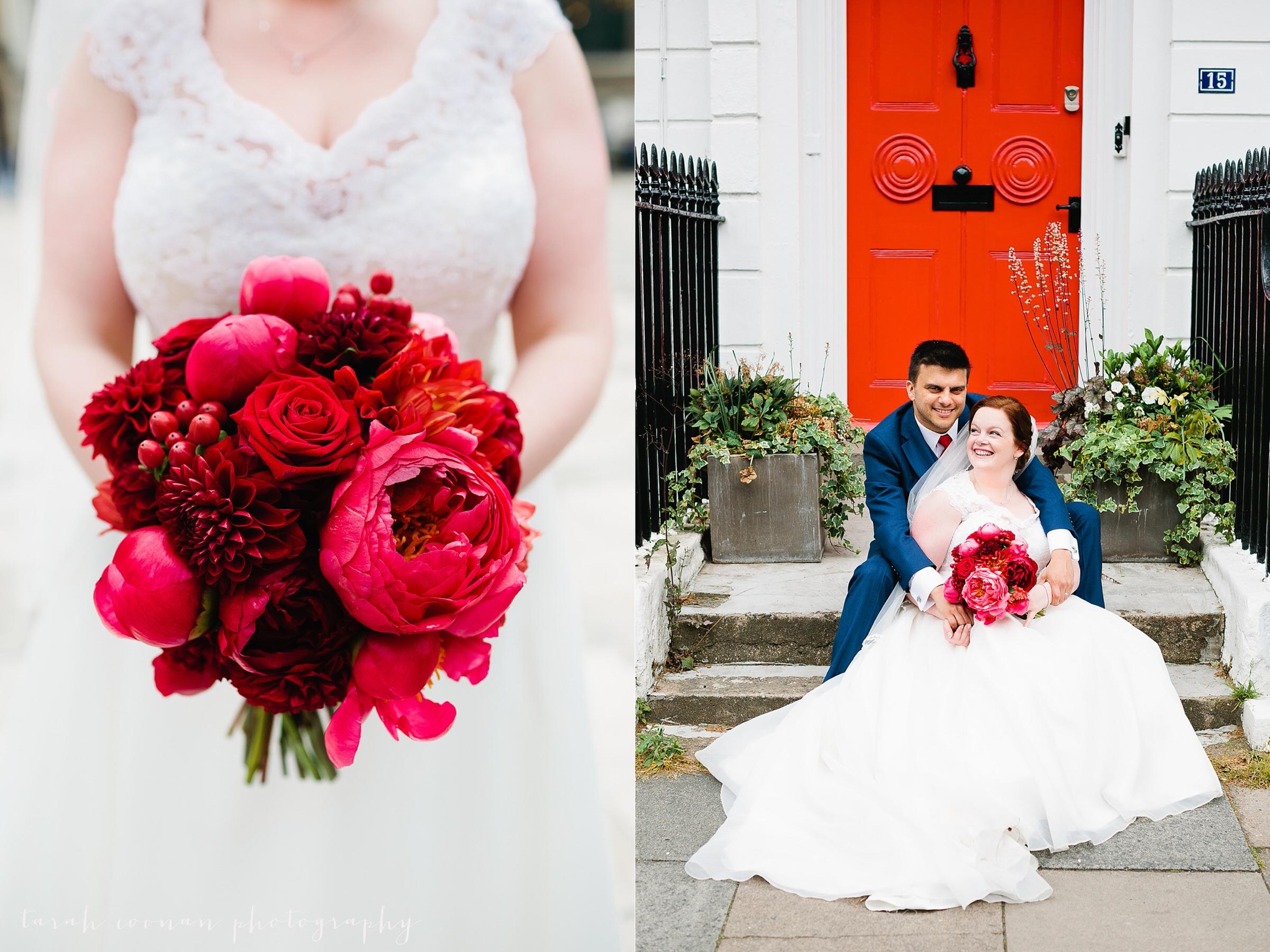 red wedding bouquet peonies