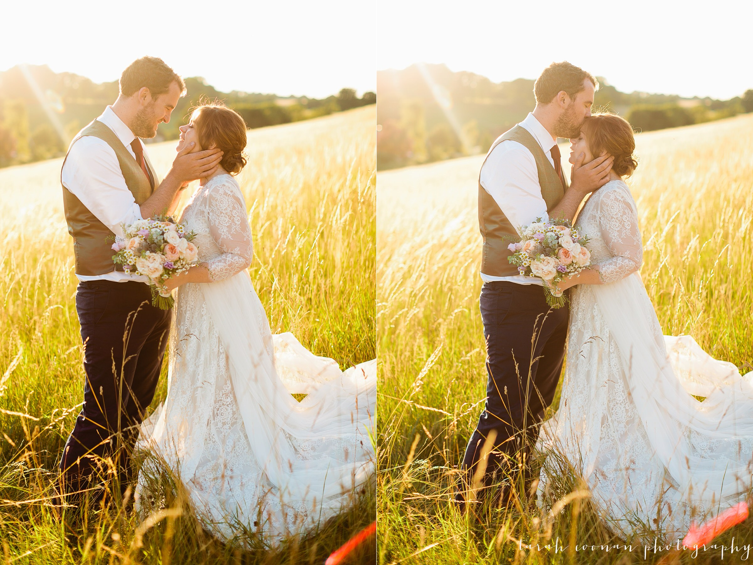golden light field wedding
