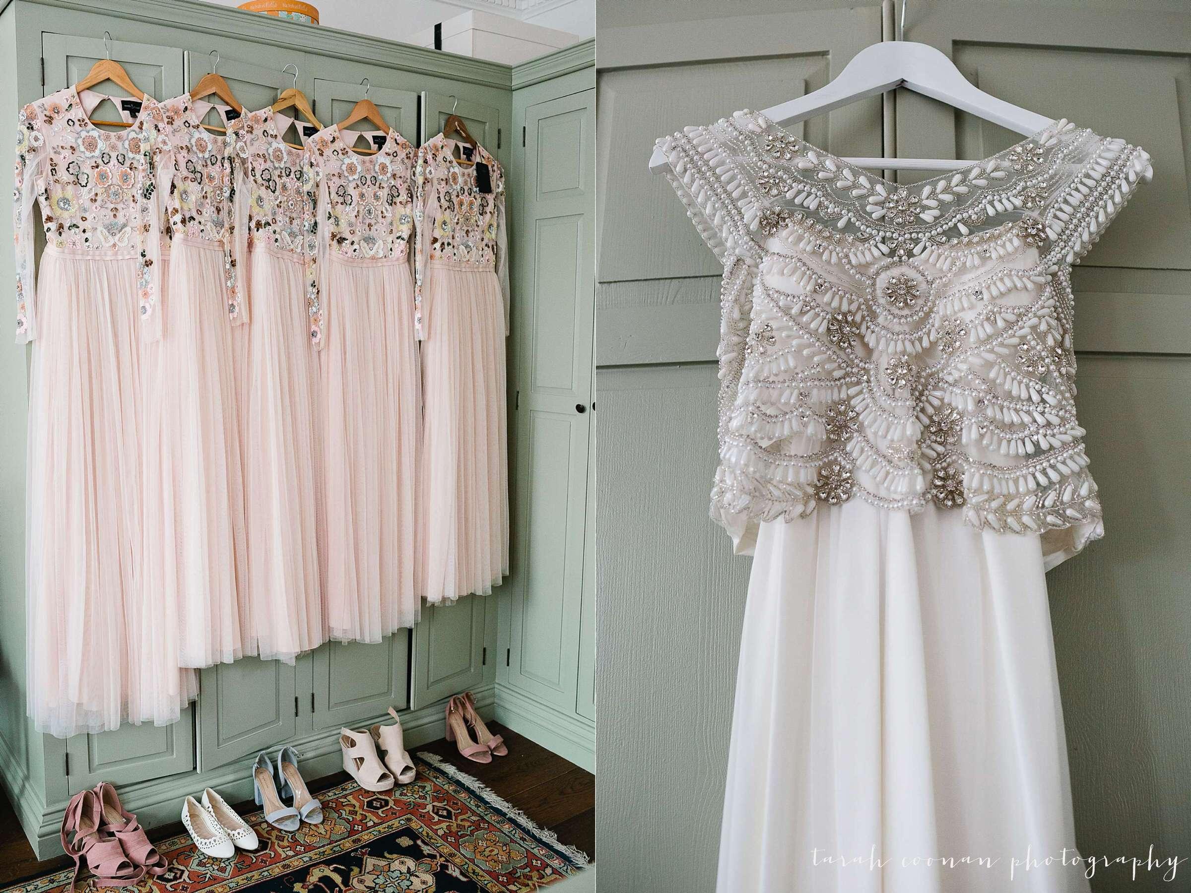 Pink beaded bridesmaid dresses