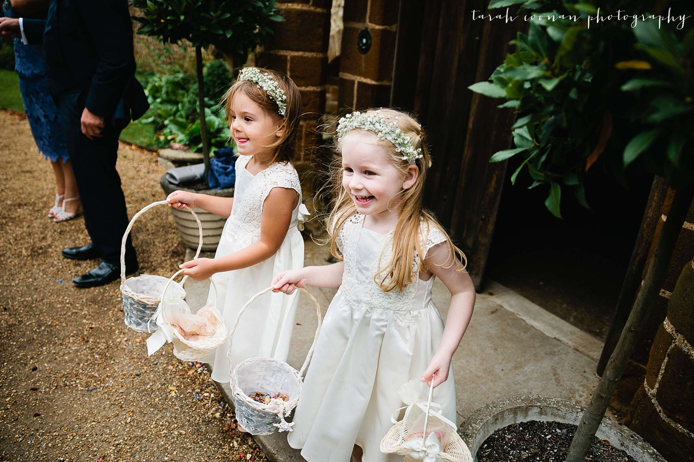Excited flower girls