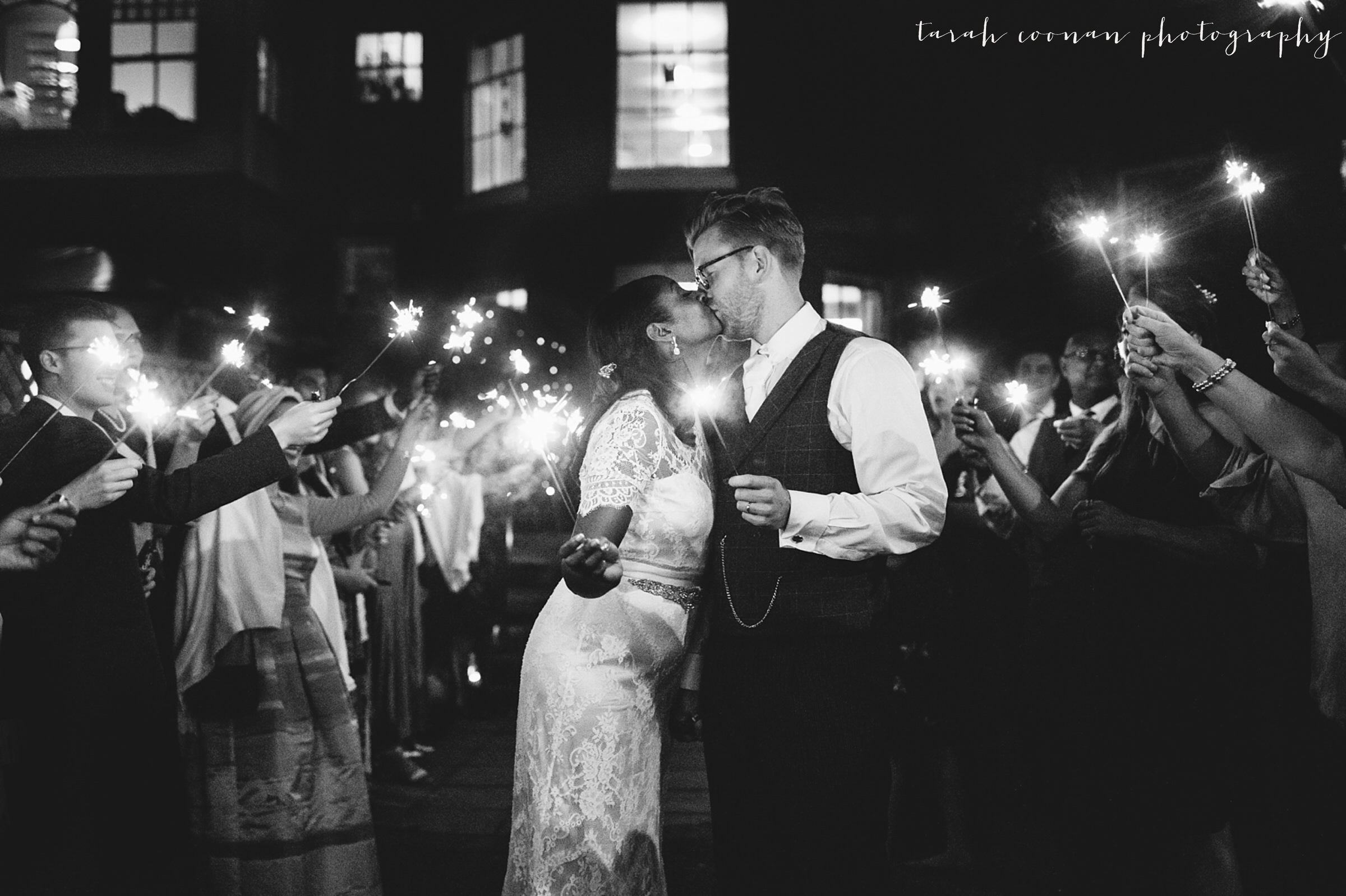 london wedding sparkler kiss