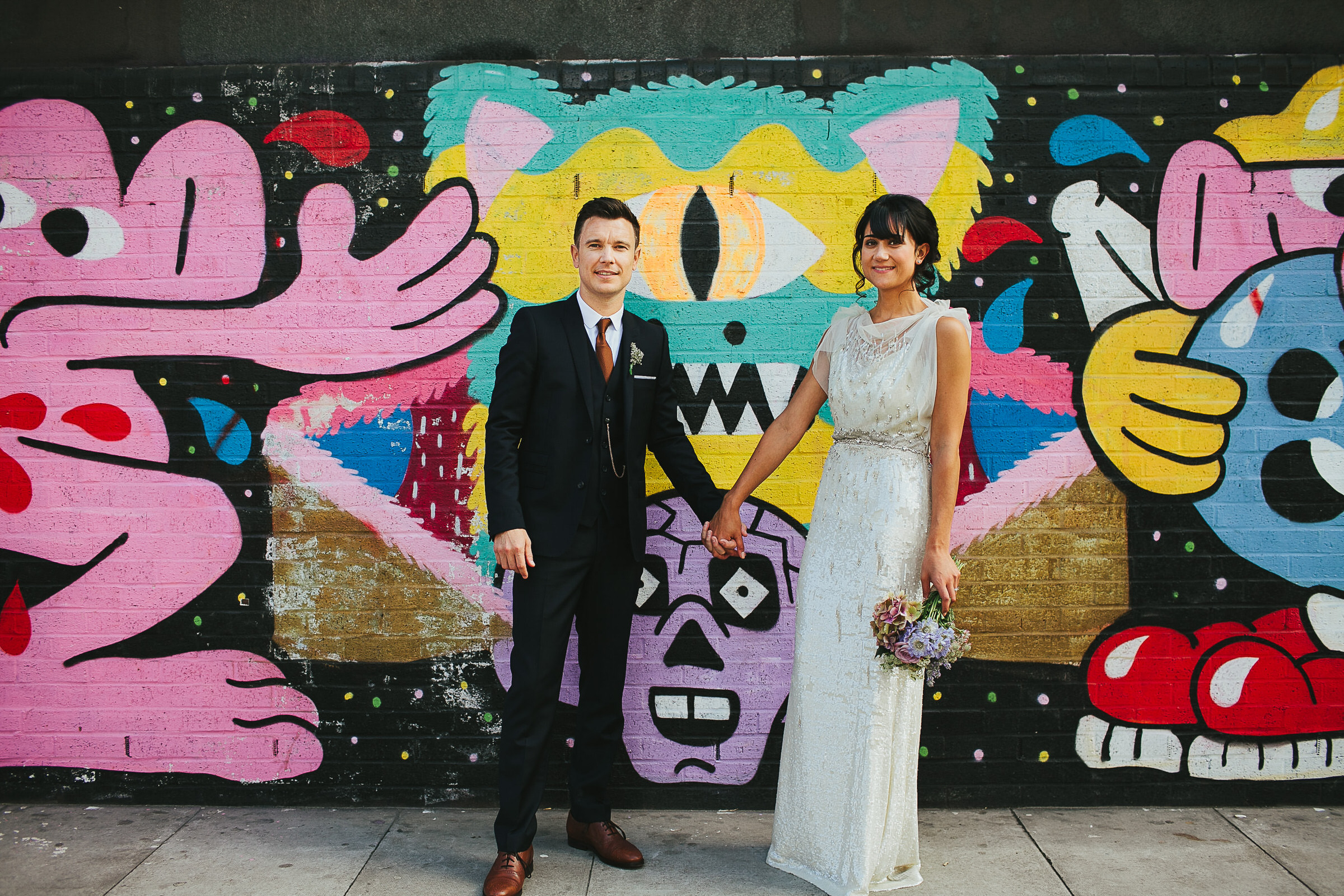 shoreditch graffiti wedding portraits