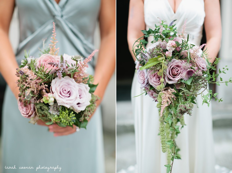 wedding bouquet - astrantia, scabious, astilbe, rose, ivy, mint, rosemary, roses