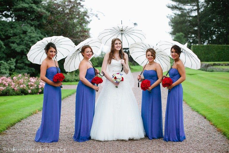 bridesmaids wedding umbrellas