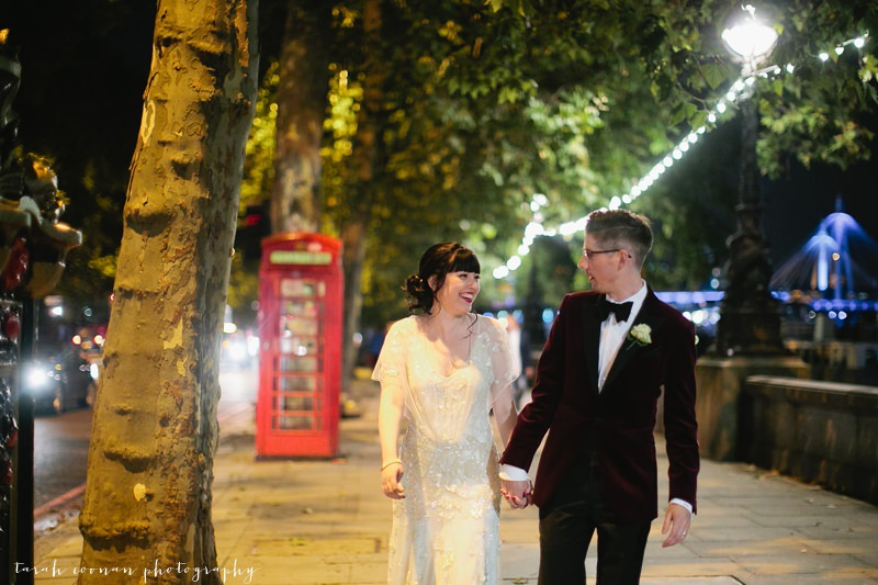 london embankment wedding photo
