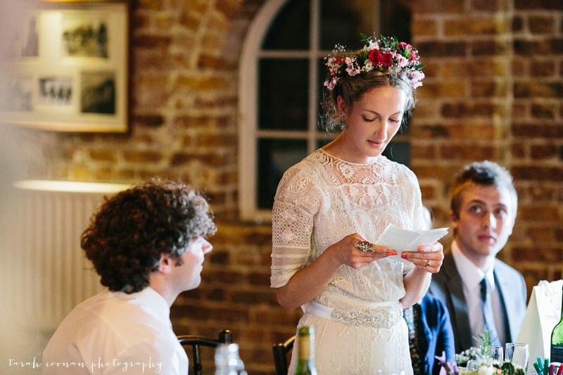 bride doing speech
