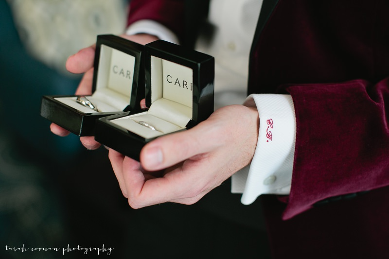 grooms initials embroidered