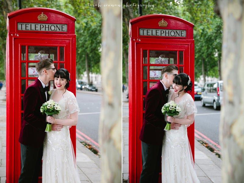 red phone box wedding photos