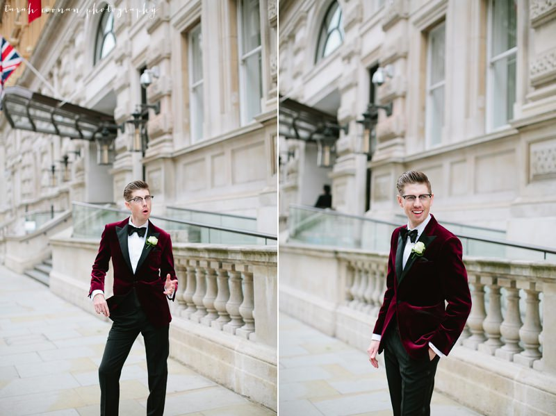 red velvet suit and bow tie
