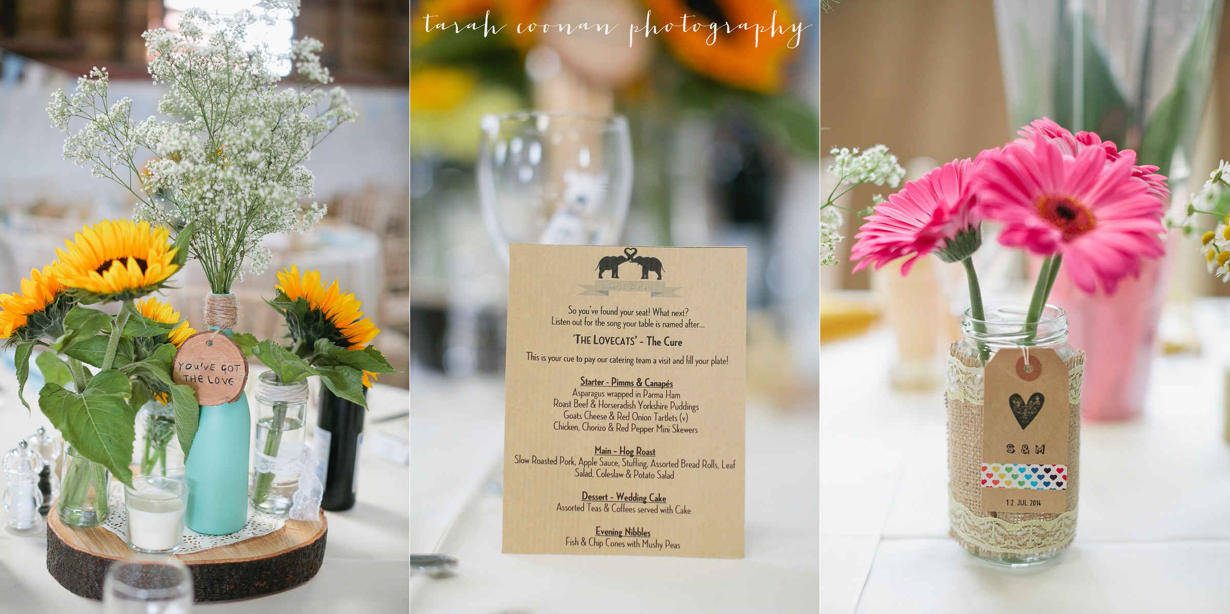handmade wedding menu