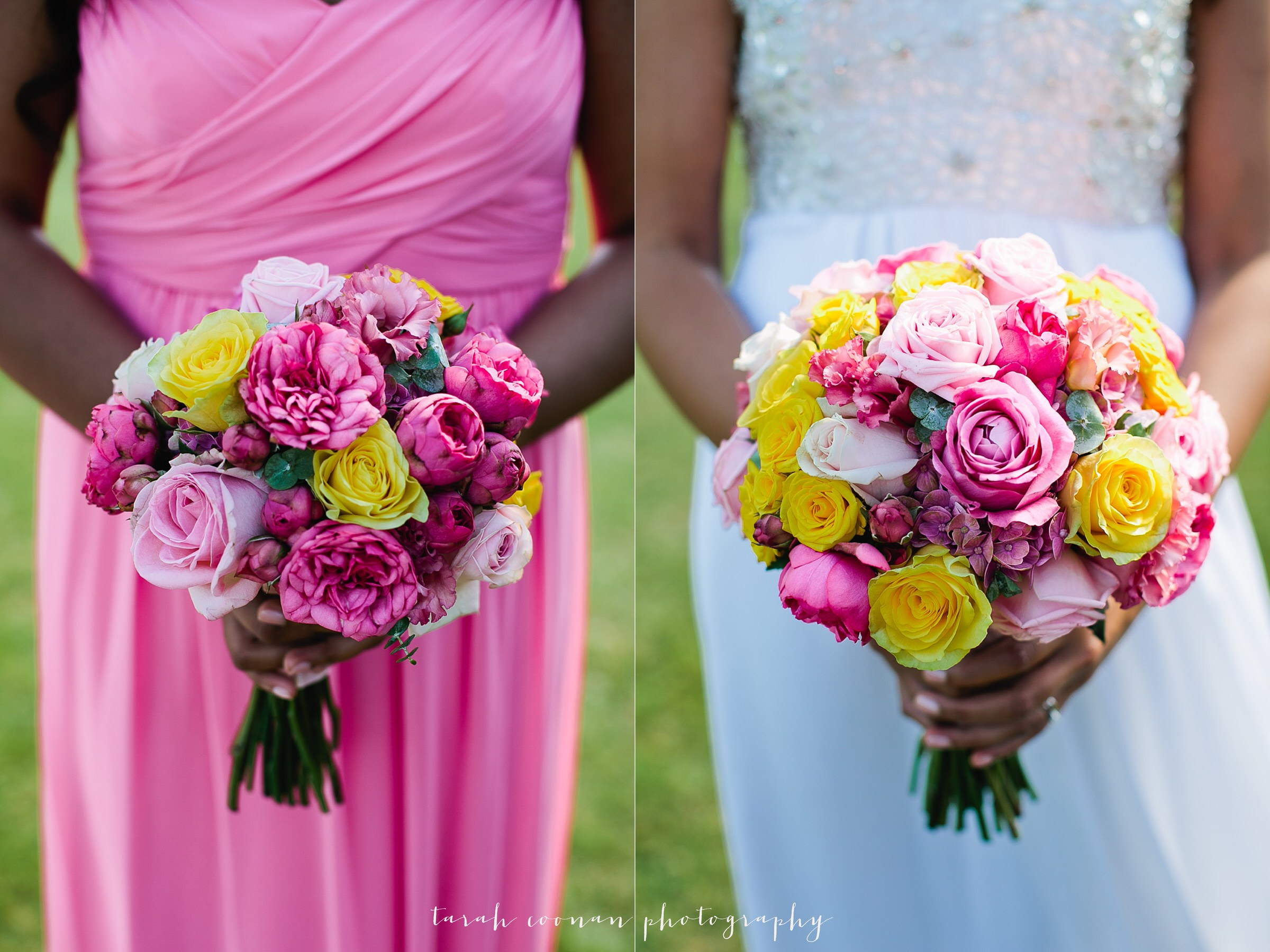 pink and yellow rose bouquets