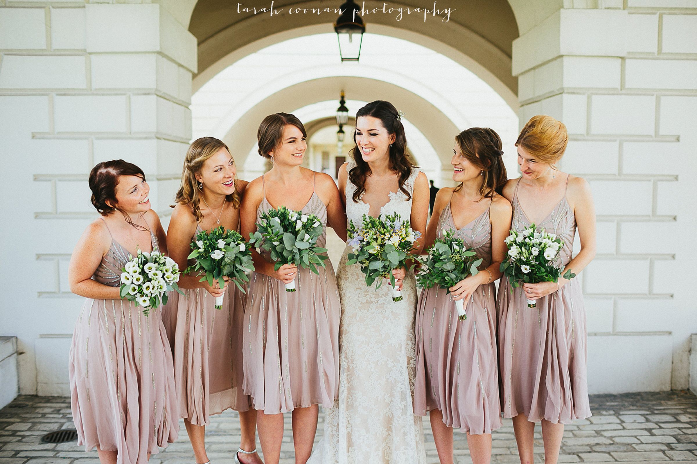 Pink sequin bridesmaid dresses