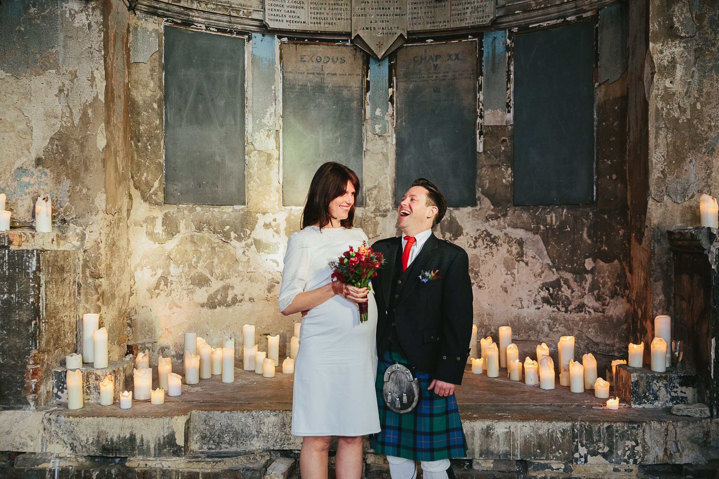 winter candlelit wedding