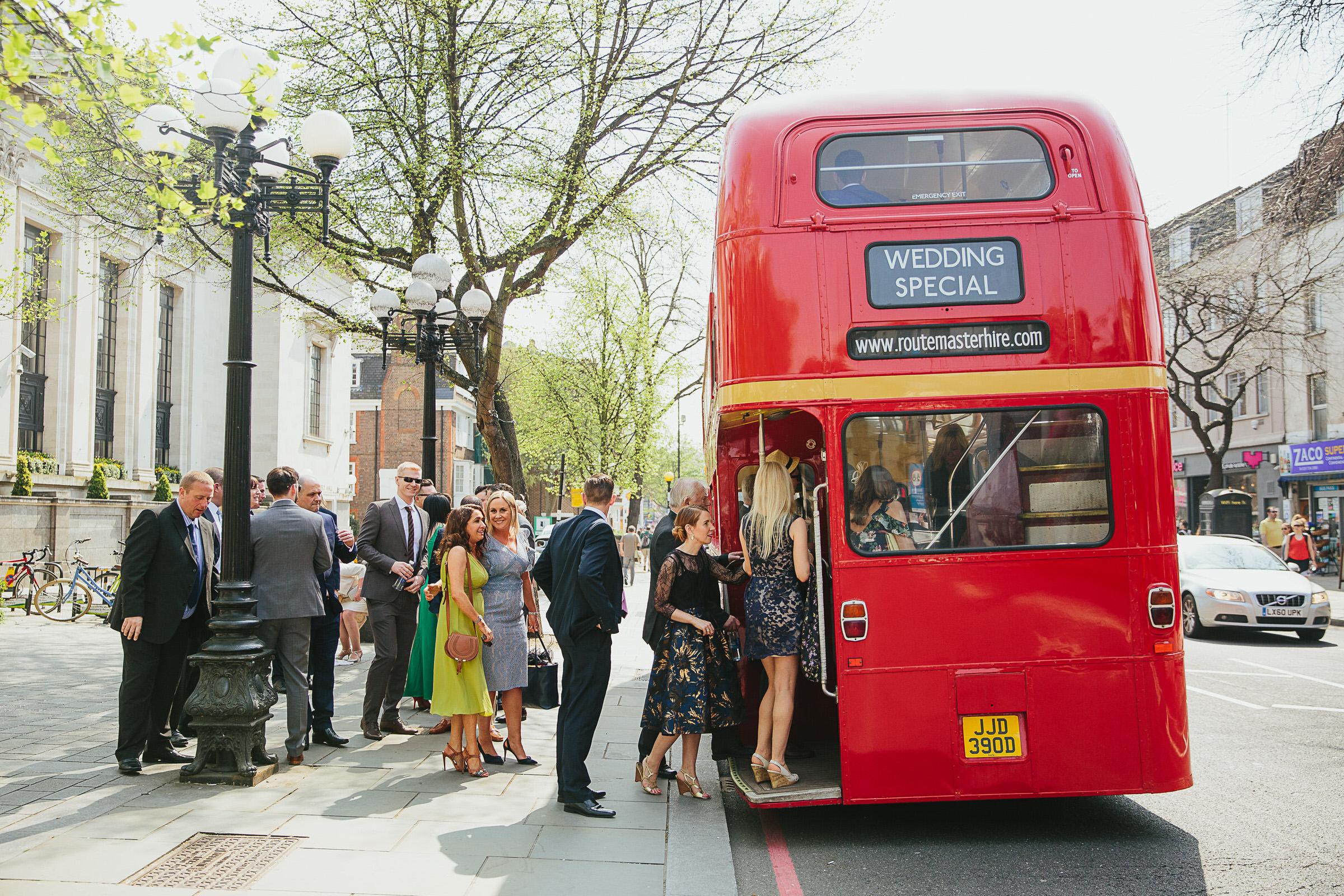 red bus wedding