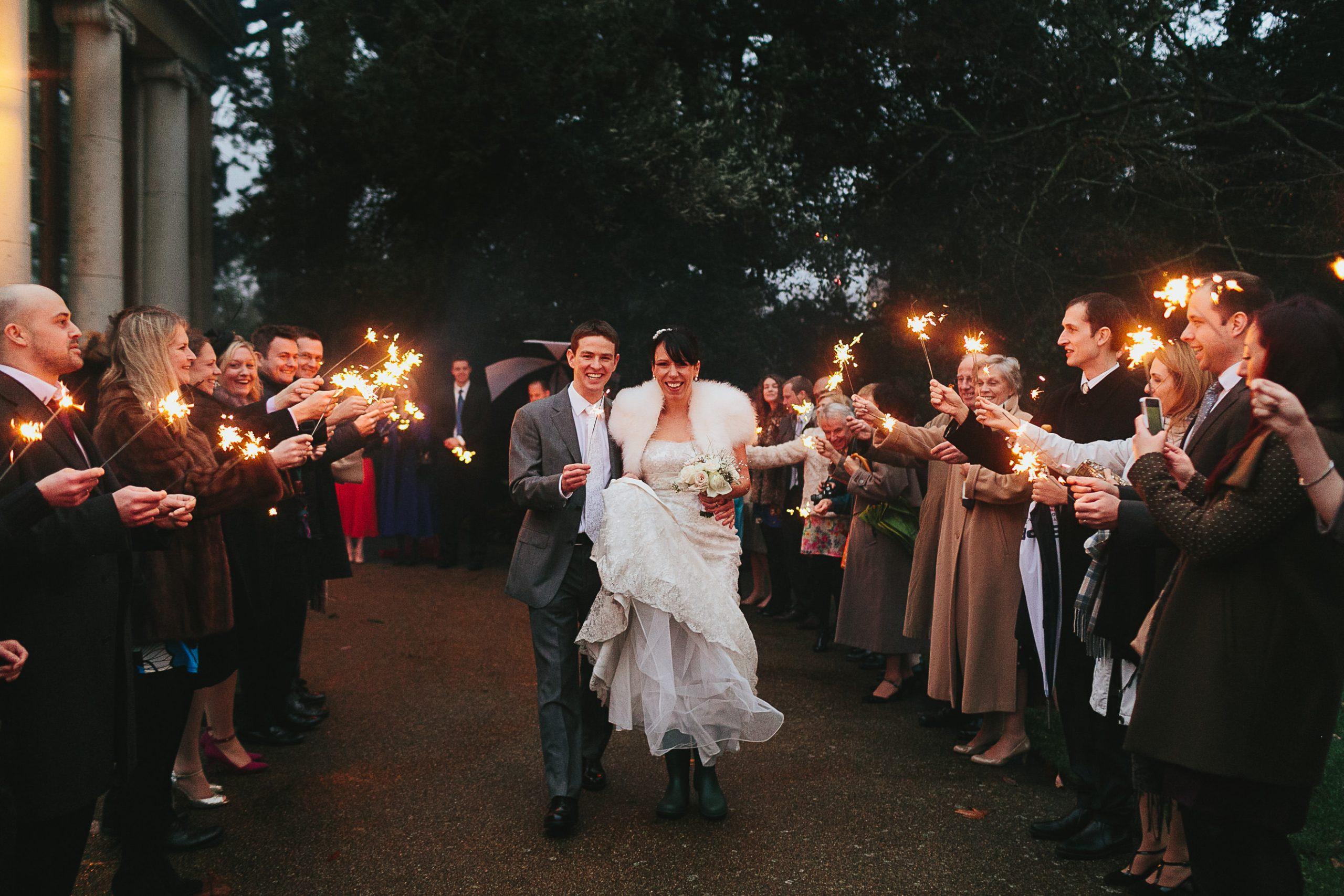 sparklers winter wedding